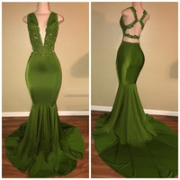 Green 2019 Prom Dresses Mermaid V neck Appliques Lace Beaded Backless Party Maxys Long Prom Gown Evening Dresses Robe De Soiree