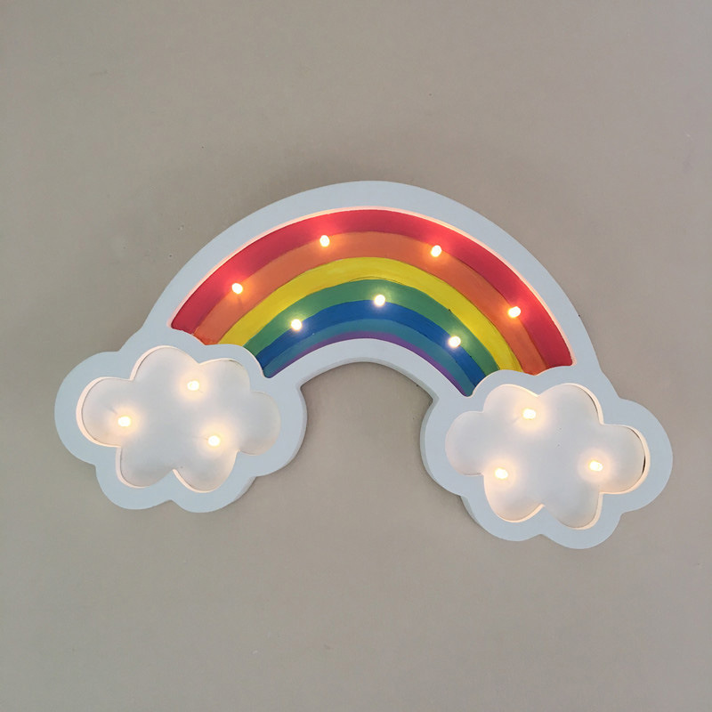 Wooden Led Rainbow wall Light Novelty 3d Led Lamp Christmas Gift A Batterie Kids Lights Lamps Kids Room Wall Lamps novelty smile face rainbow led night lights battery night lamps for baby room nursery living room decor kids christmas gifts