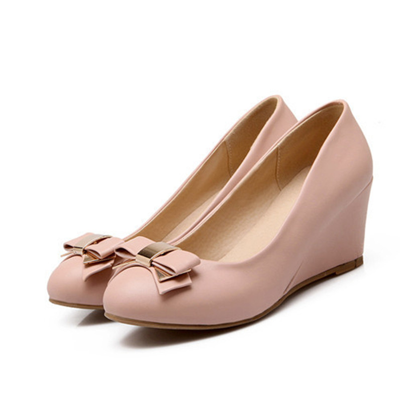 051e433eb38 Women High Heels Pumps Spring Sweet Office Medium Heel Wedges Women Bow non  slip shoes Beige pink sky blue -in Women s Pumps from Shoes on  Aliexpress.com ...