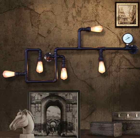 Винтажный Лофт wroguht железная водопроводная настенная лампа Эдисона свет бар столовая гостиная настенная лампа