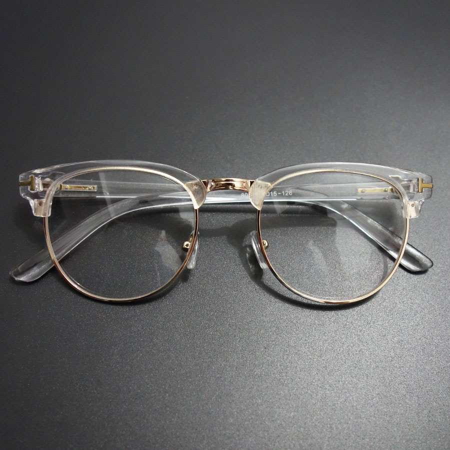 Rimless Glasses Old : Vintage Metal Semi Rimless Glasses Clear Optical Spectacle ...