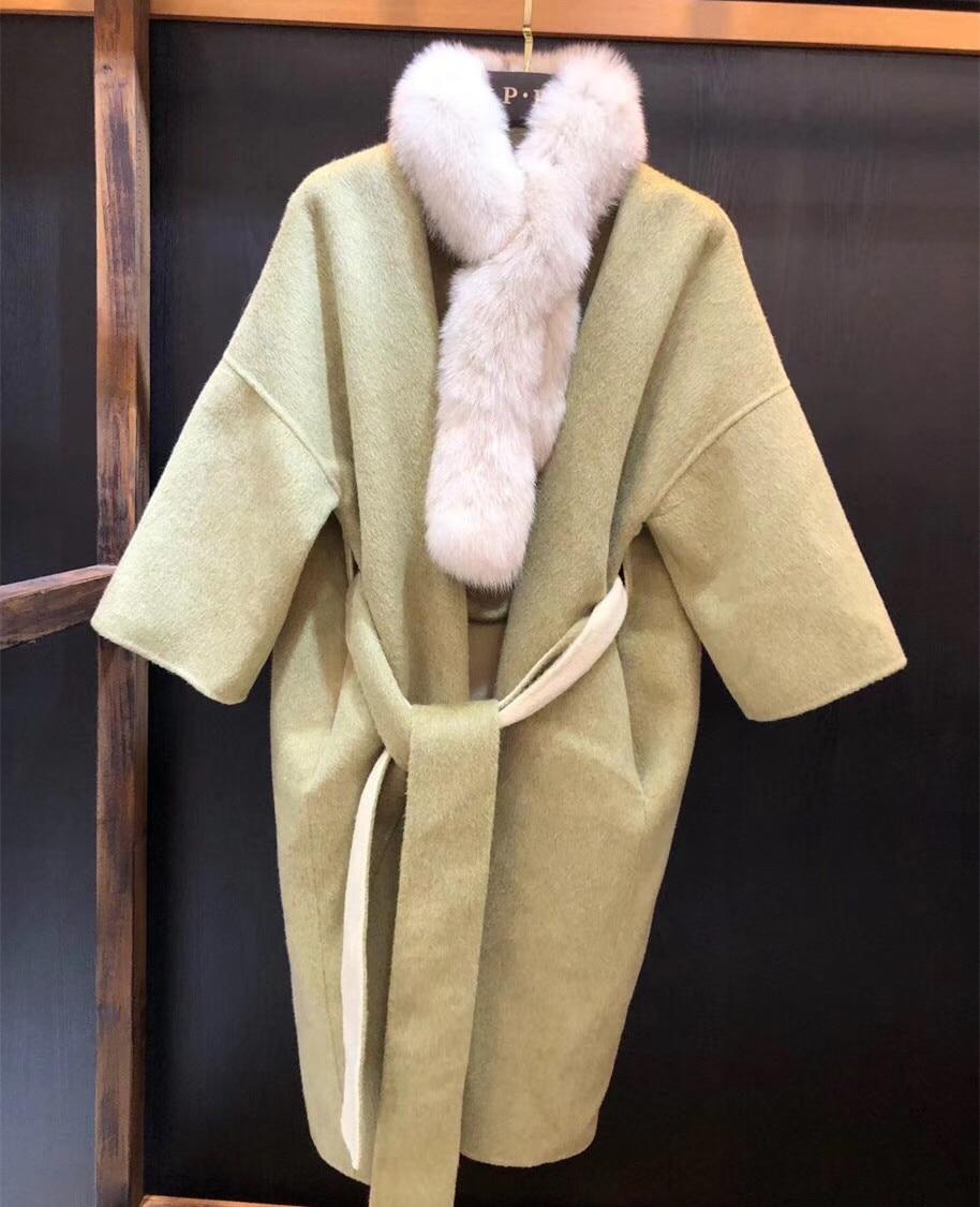 00ae8dc19e0 Femme Hiver Laine Automne De Fourrure Longue Manteau camel Veste Green  Renard Mode Vraie Bean Écharpe ...