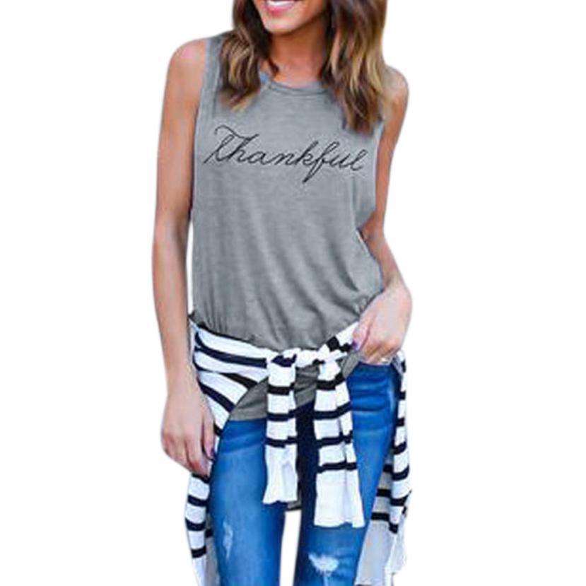 snowshine YLI Women Crop Tops Vest Print Letter Sleeveless Tank Tops Blouse T-Shirt