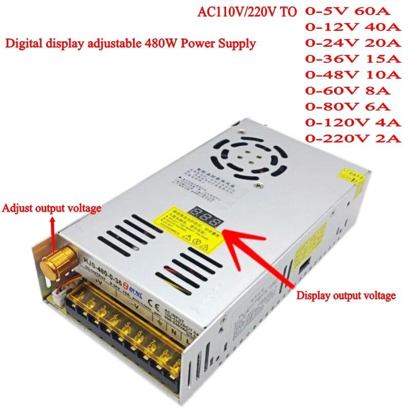 AC DC 110 V 220 V to DC 12V 24 V 36 V 48 V 60 V 80 V 120 V 480W ดิจิตอลจอแสดงผลปรับ Switching Power Supply-ใน แหล่งจ่ายกำลังแบบสวิตซ์ จาก การปรับปรุงบ้าน บน AliExpress - 11.11_สิบเอ็ด สิบเอ็ดวันคนโสด 1