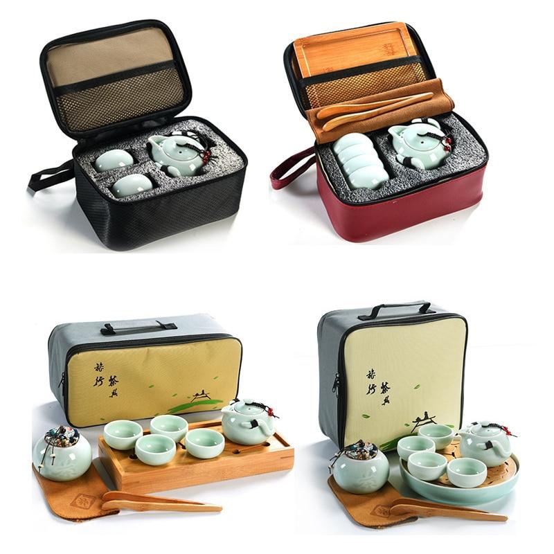Outdoor Travel Tea Set Portable Chinese Kung Fu Tea Mug Beautiful And Easy Teapot Kettle,Ceramic Portable Teaset Gaiwan