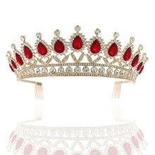 Gran tocados de corona tiara para novia maquillaje nupcial tocado de princesa corona de boda accesorios para el cabello Vintage corona de Reina
