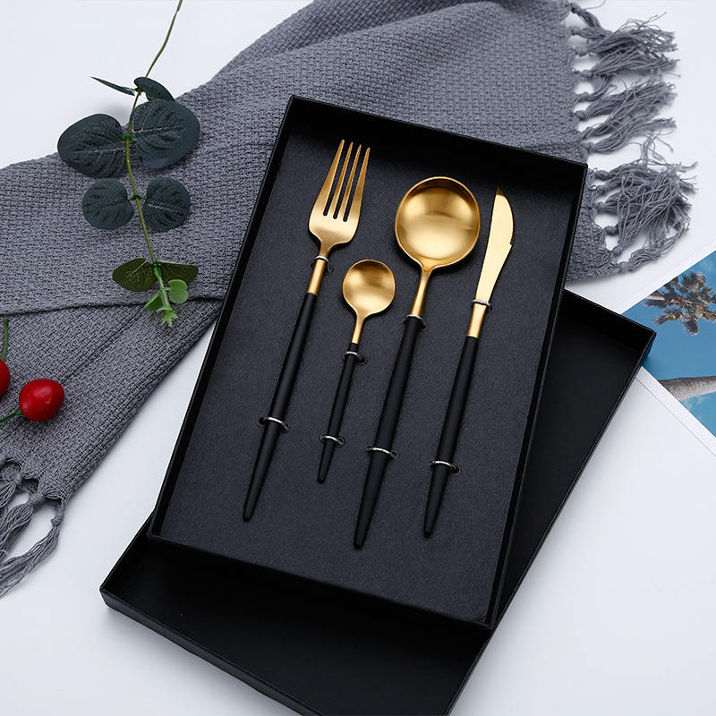 Hot Sale Dinner Set Cutlery Knives Forks Spoons Wester Kitchen Dinnerware Stainless Steel Home Party Tableware Set Kitchen Tools & Cooking Accessories cb5feb1b7314637725a2e7: Black|Black Gold|BLACK SILVER|blue gold|blue silver|boxes|Gold|pink gold|pink silver|Rose Gold|Silver|White Gold|white silver