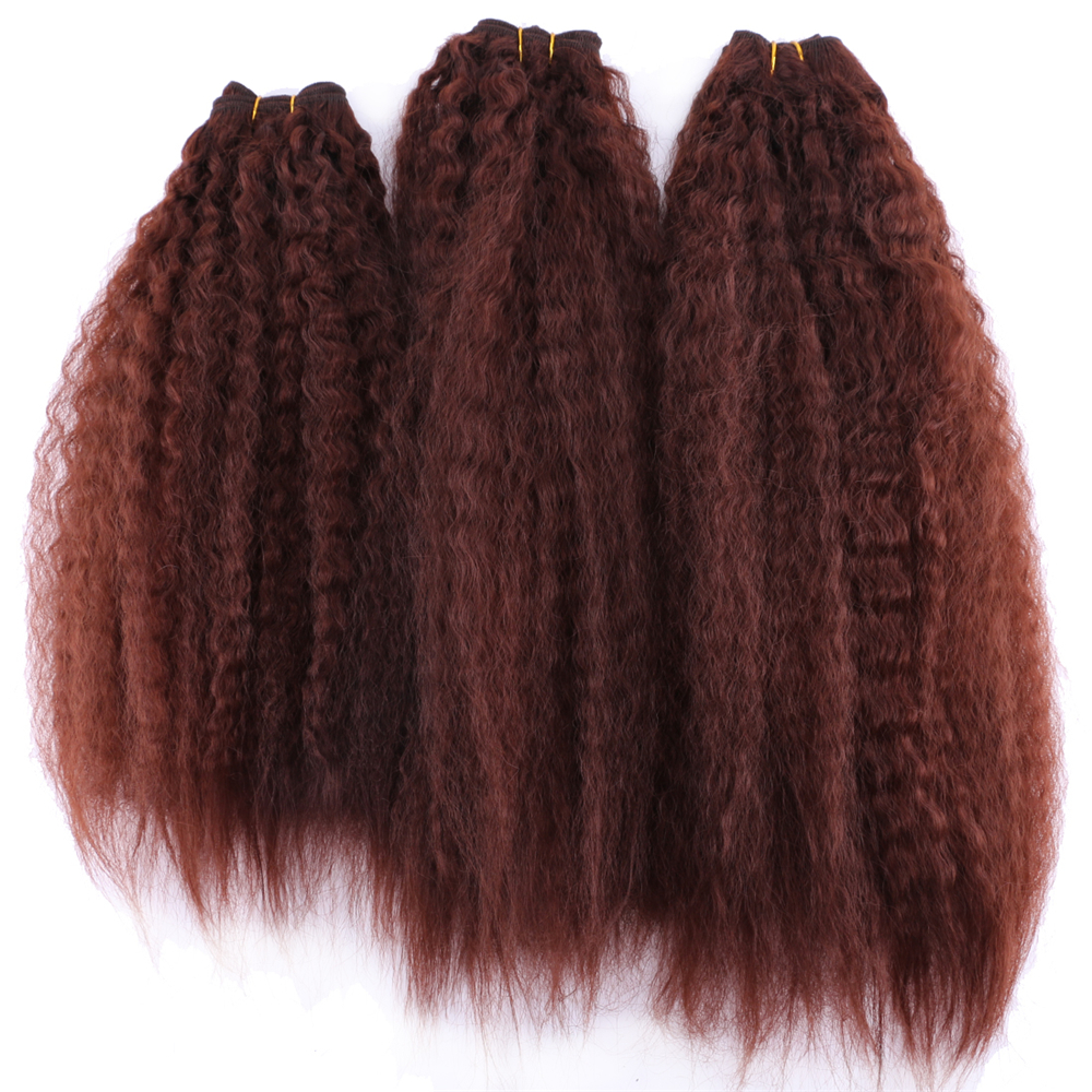 Brown Color Kinky Straight Hair Bundles 16-20 Inch 3 Pcs/lot Machine Double Weft High Temperature Synthetic Hair Extension