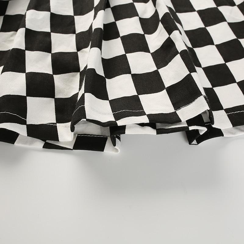 14Sweetown Korean Fashion Checkerboard Pleated Skirts Womens Sashes High Waist Zipper Cotton Short Skirt Woman Summer 2018 Skirts