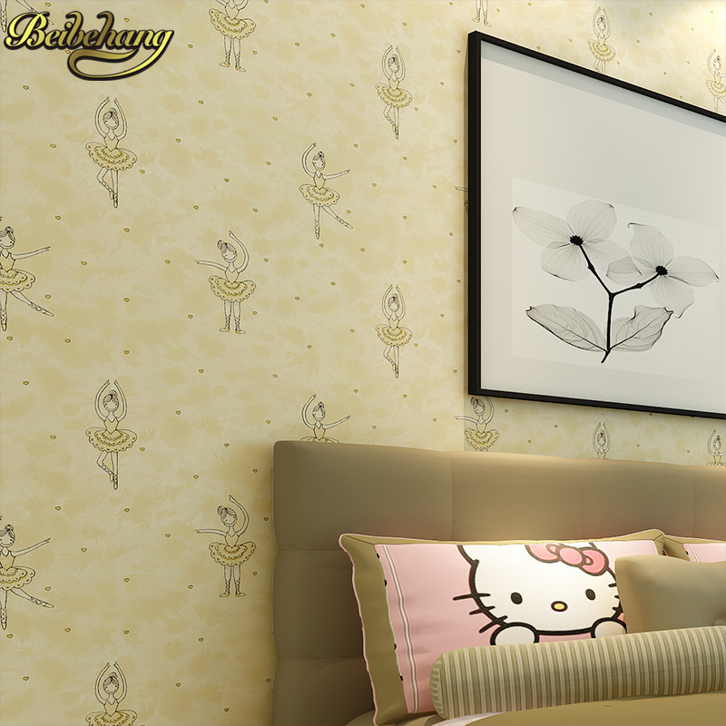 beibehang minimalist dance little girl children room TV Background ...
