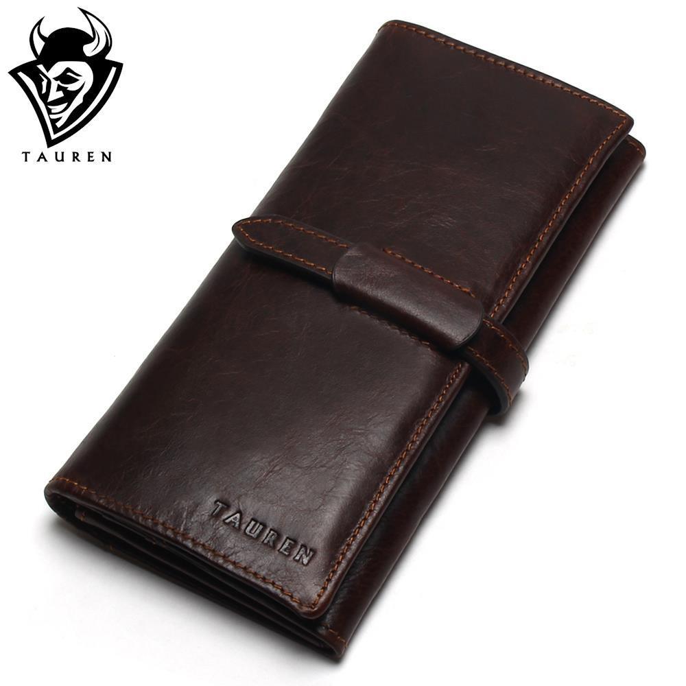 Neue Luxus Marke 100% Top Echtem Rindsleder Hohe Qualität Männer Lange Brieftasche Geldbörse Vintage Designer Männlich Carteira Geldbörsen