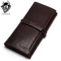 New Luxury Brand 100 Top Genuine Cowhide Leather High Quality Men Long Wallet Coin Purse Vintage