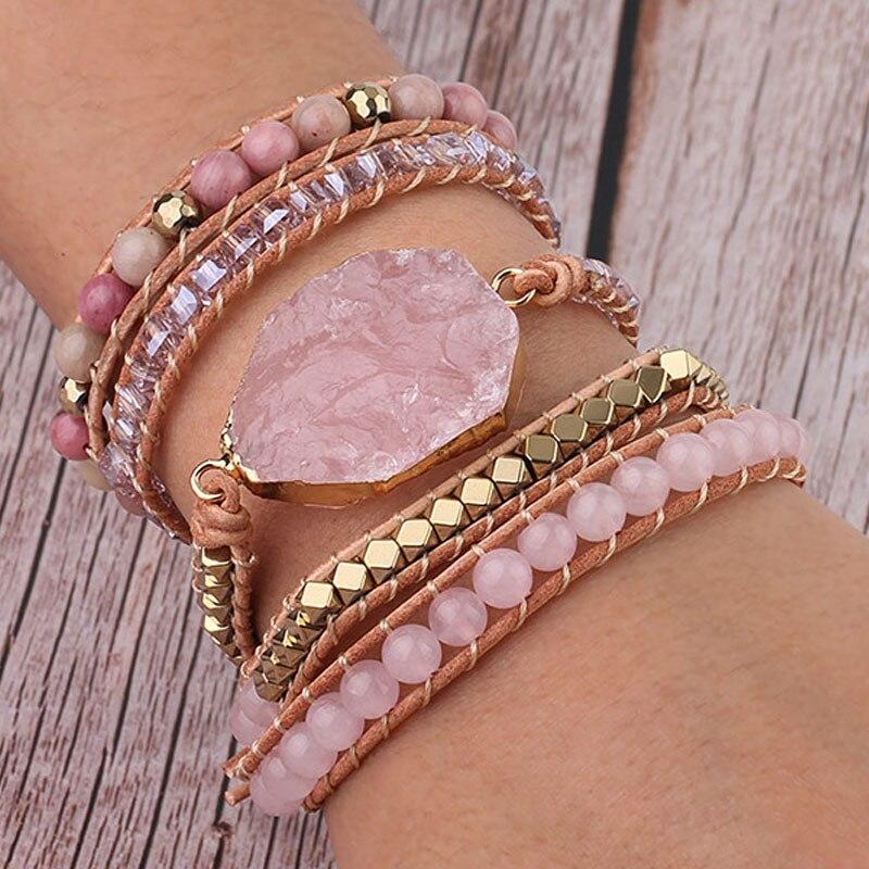 Nouvelles femmes Bracelets en pierre naturelle Bracelet 5 rangées en cuir enveloppes Bracelet à la main rose Quartz Bracelet pour femmes Femme