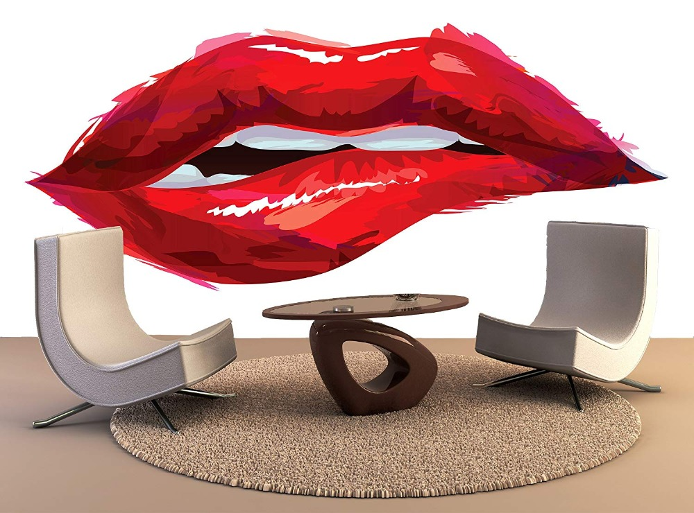 Us 16 09 30 Off Custom Wallpaper Murals Sexy Red Lips Self Adhesive Vinyl Wall Sticker Wall Paper Art Wall Painting Living Room In Wallpapers From