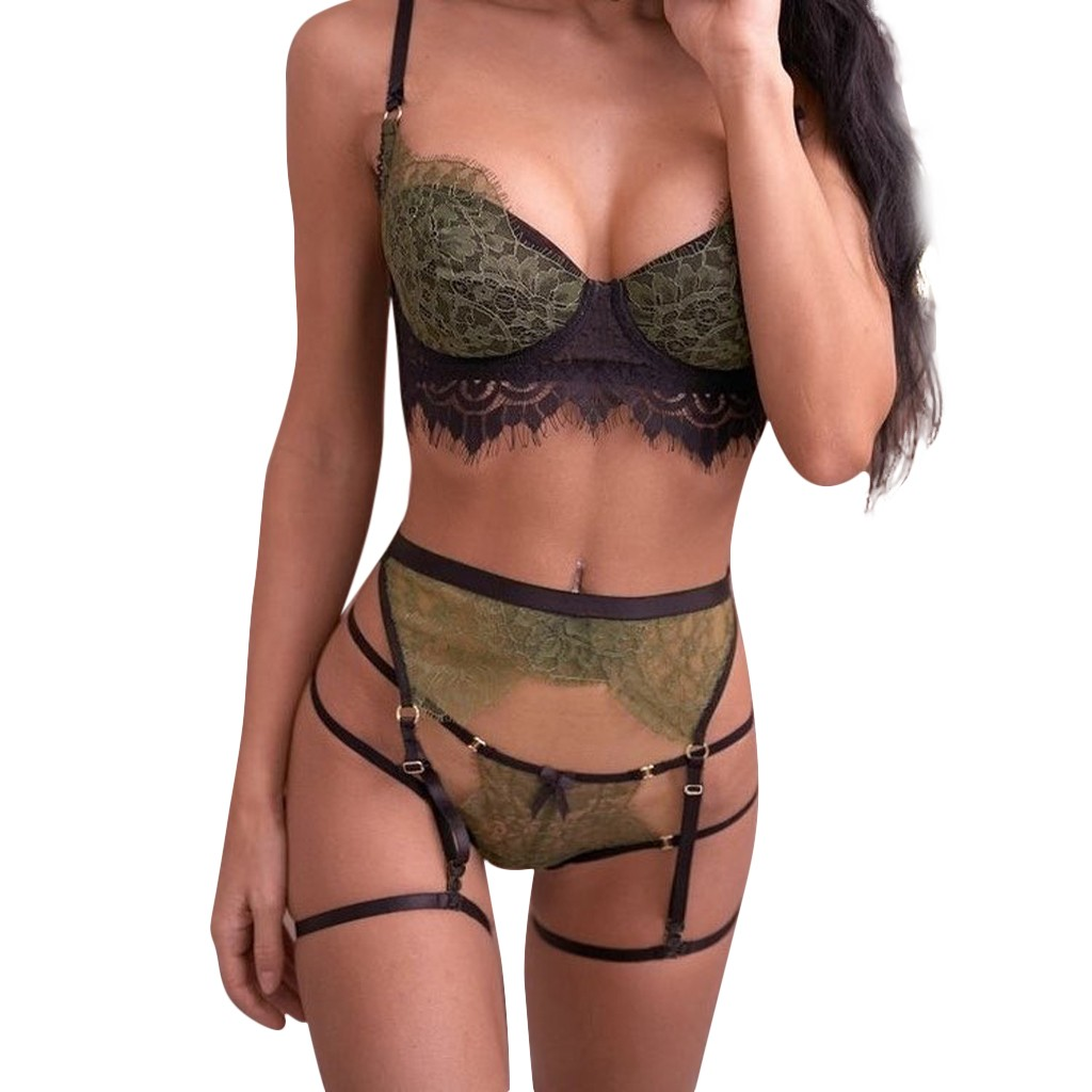 3PC Women Lingerie Set Lace Sexy Straps Bra And Panty Garter Underwear Babydoll Picardias Eroticos Mujer Intimo Donna Sexy Hot