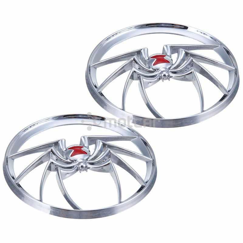 חדש לגמרי 2x Chrome כסף פלסטיק עכביש מגן כרום אלמנה רמקול גריל כיסוי להארלי אלקטרה Glide FLHT 96-13 #0662