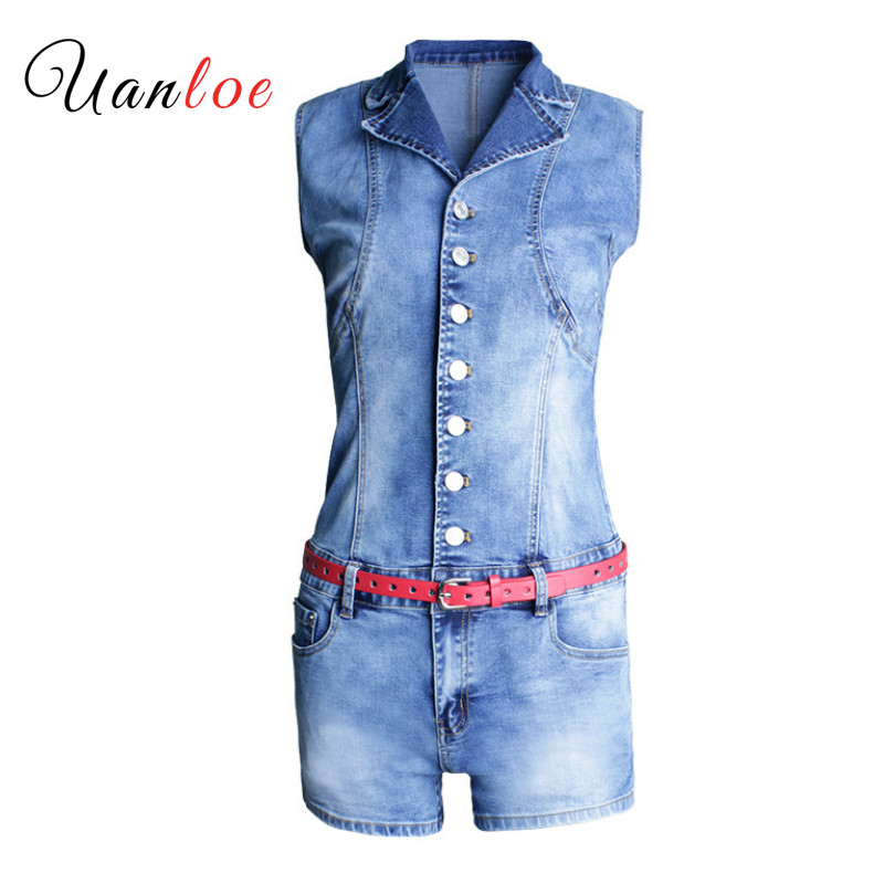 20108 Summer Sexy Denim Playsuit With Belt Women`s Plus Size Stretch Skinny Jumpsuit Shorts For Women Denim Overalls