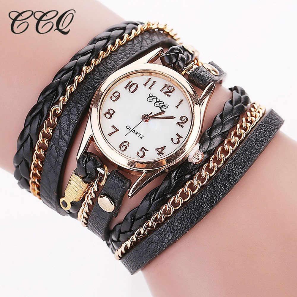 b0688845102 CCQ Элитный бренд Винтаж кожаный браслет часы для мужчин для женщин  наручные часы модные повседневное Аналоговые