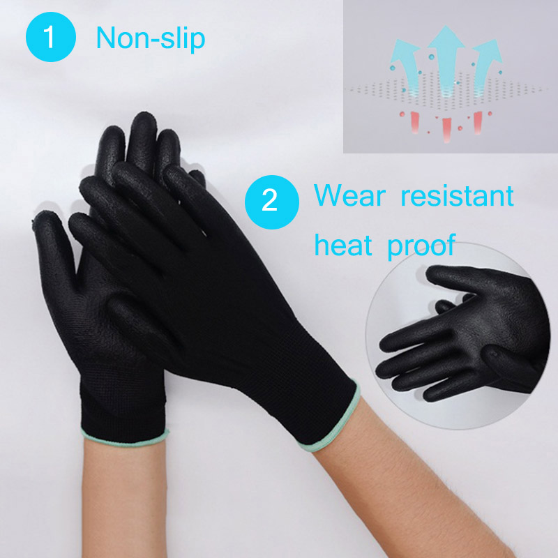 1 Pair PU Coated Working Safety Gloves Nylon Knitted Gloves For Cleaners Driver Worker Builders Gardening Protective Gloves 1 pair nylon pu palm coated protective safety work gloves garden grip builders