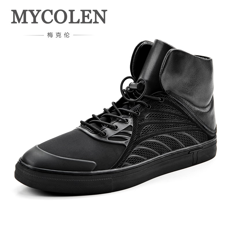 MYCOLEN Hot Selling Fashion Casual Shoes For Men Autumn/Winter Comfortable Shoes High-Top Black Male Shoes Sepatu Casual Pria mycolen 2018 new summer breathable men casual shoes slip on male fashion footwear height increasing sneakers sepatu casual pria