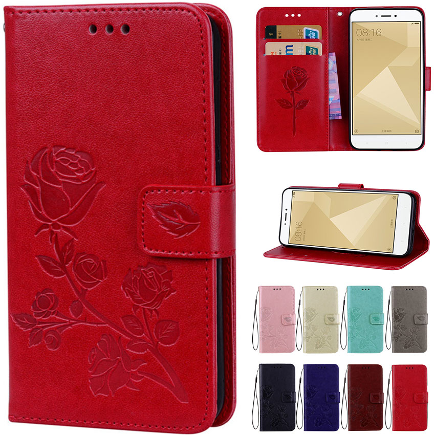 <font><b>3D</b></font> Flower Leather Flip Case For <font><b>Xiaomi</b></font> Pocophone F1 Mi A1 5X A2 Lite <font><b>Redmi</b></font> 5 Plus 6 6A S2 3S <font><b>4A</b></font> Note 4 4X 5 Pro 5A Global Cover image