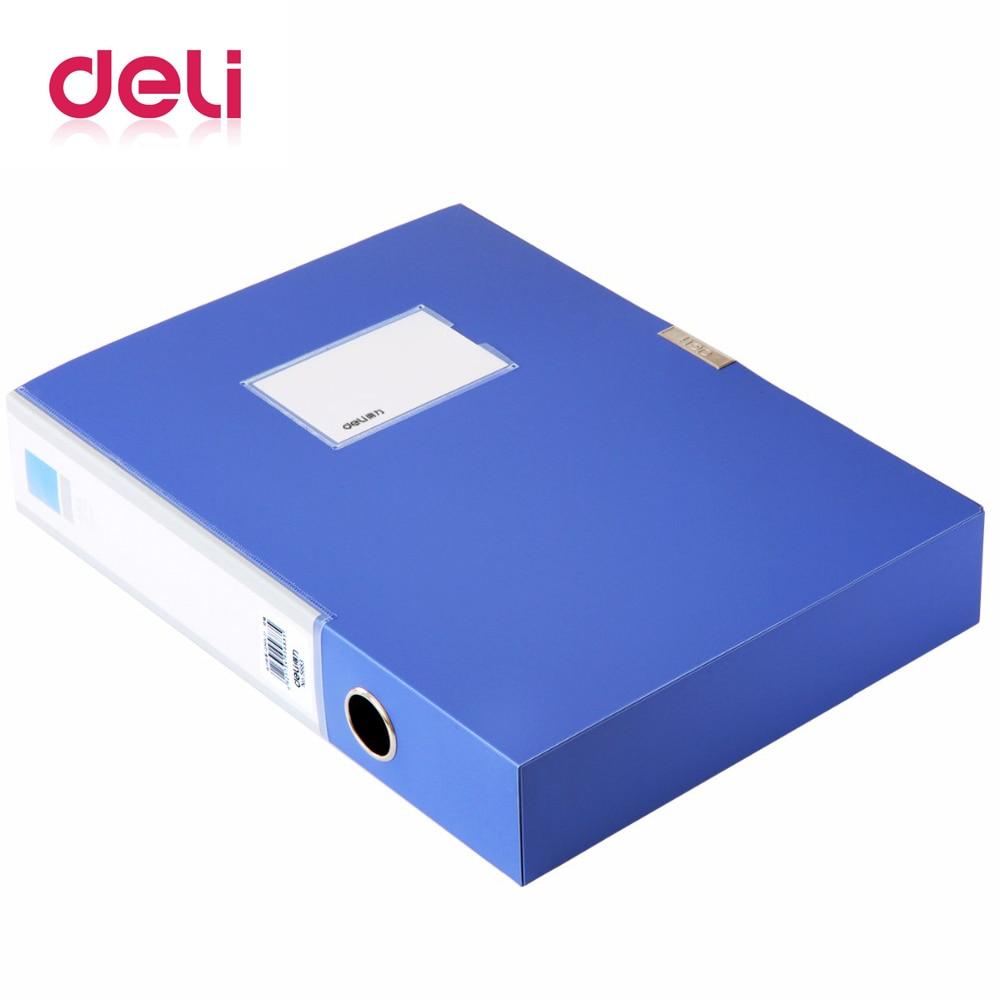 Deli 1pcs Blue file box 520 A4 paper file box glue buckle information box folder storage box file set multiple specificationsDeli 1pcs Blue file box 520 A4 paper file box glue buckle information box folder storage box file set multiple specifications