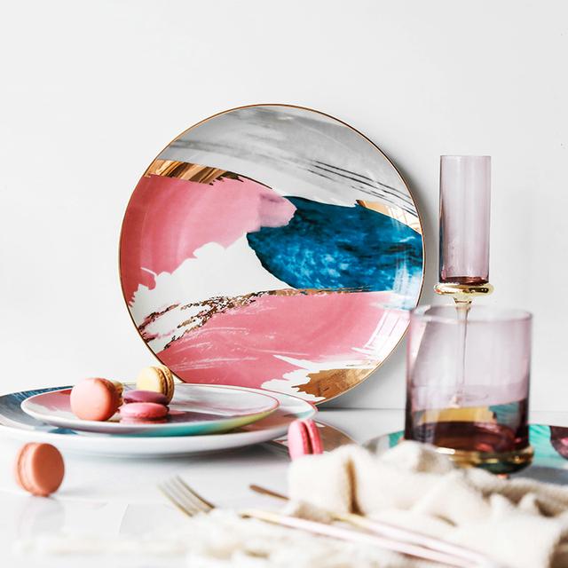 8/10 inch Dinnerware Watercolor painting cloud Ceramic Plate