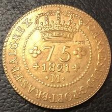 1821-M Бразилия 75 Reis-Joao VI Minas Gerais медь имитация монеты