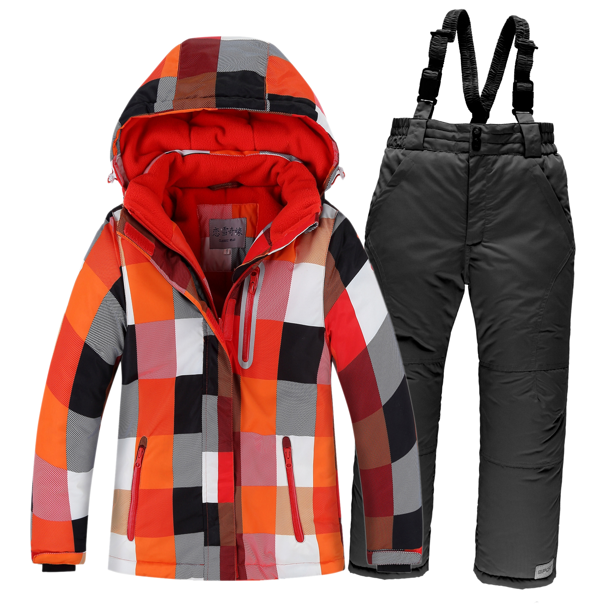 цены на Winter Children Ski Suit Windproof Warm Girls Clothing Set Jacket + Overalls Boys Clothes Set 3-16 Years Kids Snow Suits