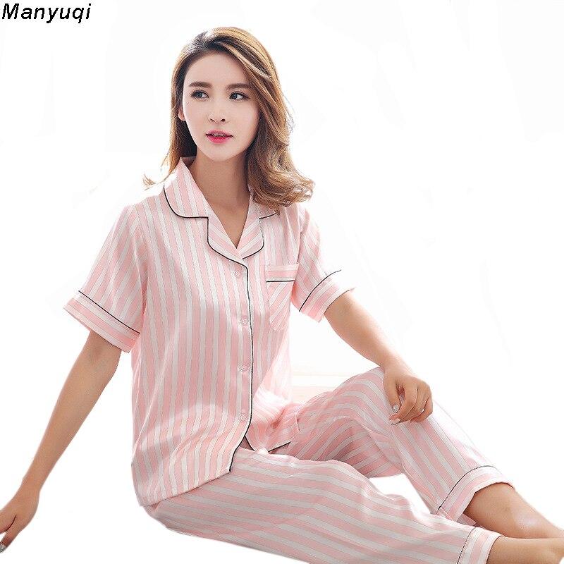 Womens pajamas sets silk satin nightwear Long pants + short sleeve tops pyjamas women summer sleepwear stripe pajamas femme