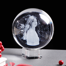 Personalized Glass Photo Frame Crystal Ball Laser Engrave Wedding Souvenir Picture Gift for Family