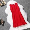 Más el Tamaño 2016 Verano Vestido Rojo Bodycon Vestido Sin Mangas Del Volante Chaleco Fishtail Vestido de Una Línea de Vestidos de Las Mujeres Vestidos Femininos