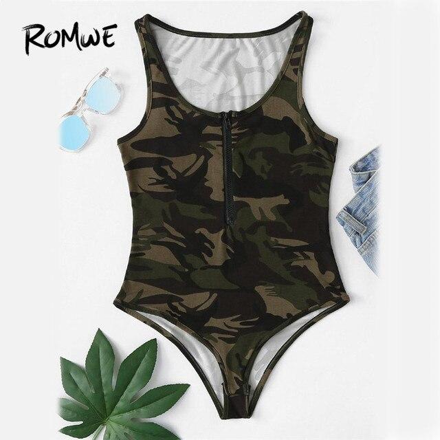 ROMWE Camo Print Zip Up Front Bodysuit Summer Mid Waist Skinny Bodysuit  2018 Army Green Sleeveless Female Bodysuit bfe15e41c