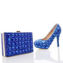 Royal Blue Rhinestone Wedding Shoes with Fashion Crystal Matching Bag Party High Heels with Clutch Bridal Shoes