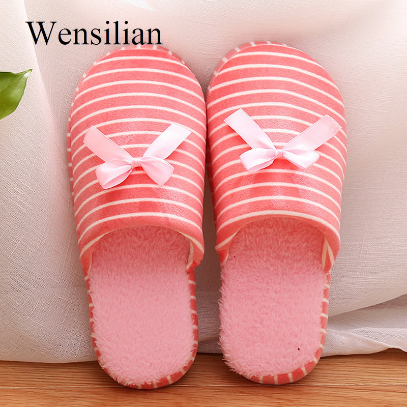Winter Cotton Home Slippers Indoor Women Simple Japanese Striped Soft Slippers Fur Casual Flat Lovers Couples Floor Shoes e lov women casual walking shoes graffiti aries horoscope canvas shoe low top flat oxford shoes for couples lovers