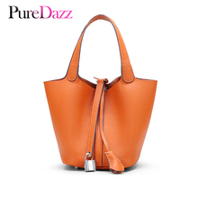 Newest Genuine Leather Women Bucket Bag Brand Design Real Handbag Occident Styla Female Soft Texture Lady Lock