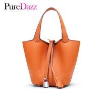 Newest Genuine Leather Women Bucket Bag Brand Design Real Leather Handbag Occident Styla Female Bag Soft Texture Lady Lock Bag