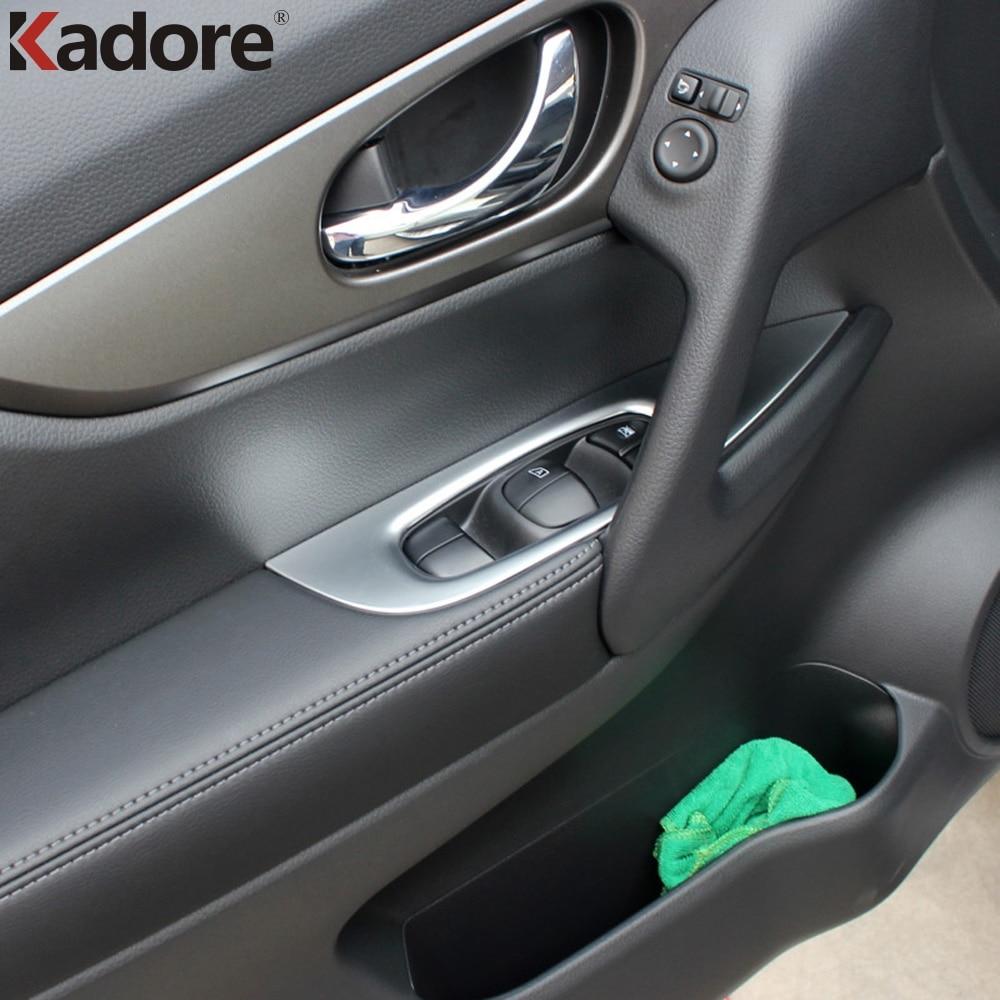 For Nissan X-Trail Rogue 2014 2015-2017 Matte Inner Door Handle Cover Trim Door Armrest  ...