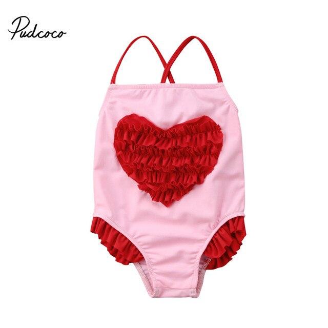 6bcd70e152efc Mignon enfants fille dos nu maillots de bain 2018 été bébé filles 3D fleur  coeur Bikini