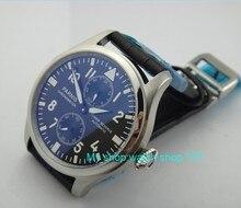 47mm esfera de COLOR Negro PARNIS ST2530 Power Reserve movimiento Mecánico Automático Auto-Viento relojes Mecánicos relojes de Los Hombres o6