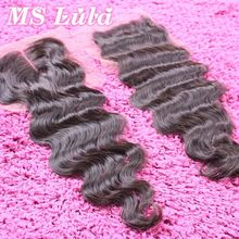Free shipping Human hair brazilian virgin hair body wave lace closure 4X4 size full and thick Free parting Middle Parting