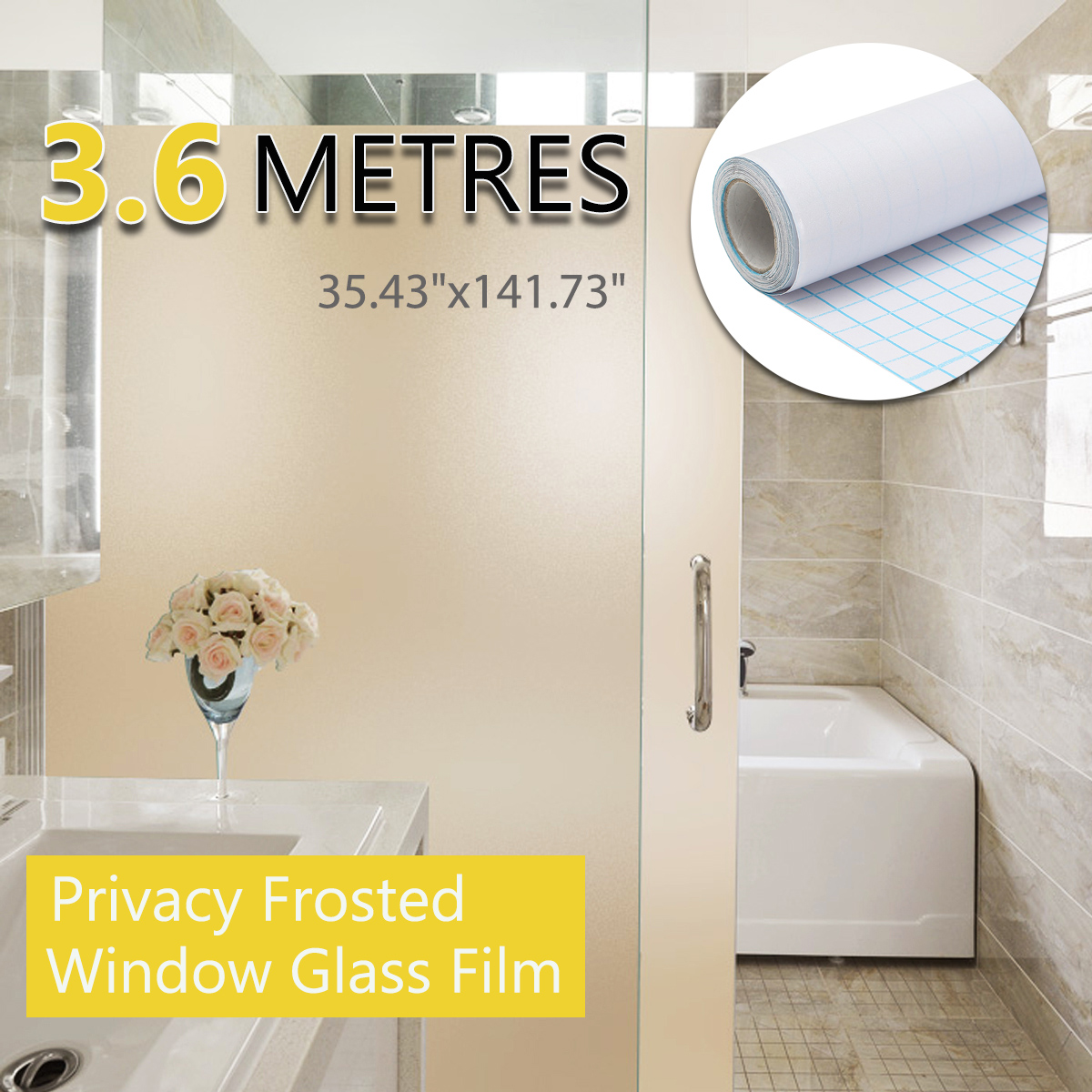 PVC Frosted Window Glass Film 90cm x 3.6m for Home Bathroom Office Pri vacy Pritection DIY Frosted Decorative Glass Films