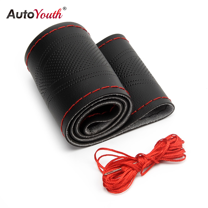 AUTOYOUTH Hand-Stitched Universal Microfiber Leather Car Steering Wheel 38 Cover Stitching Style Car-Styling Interior Accessory