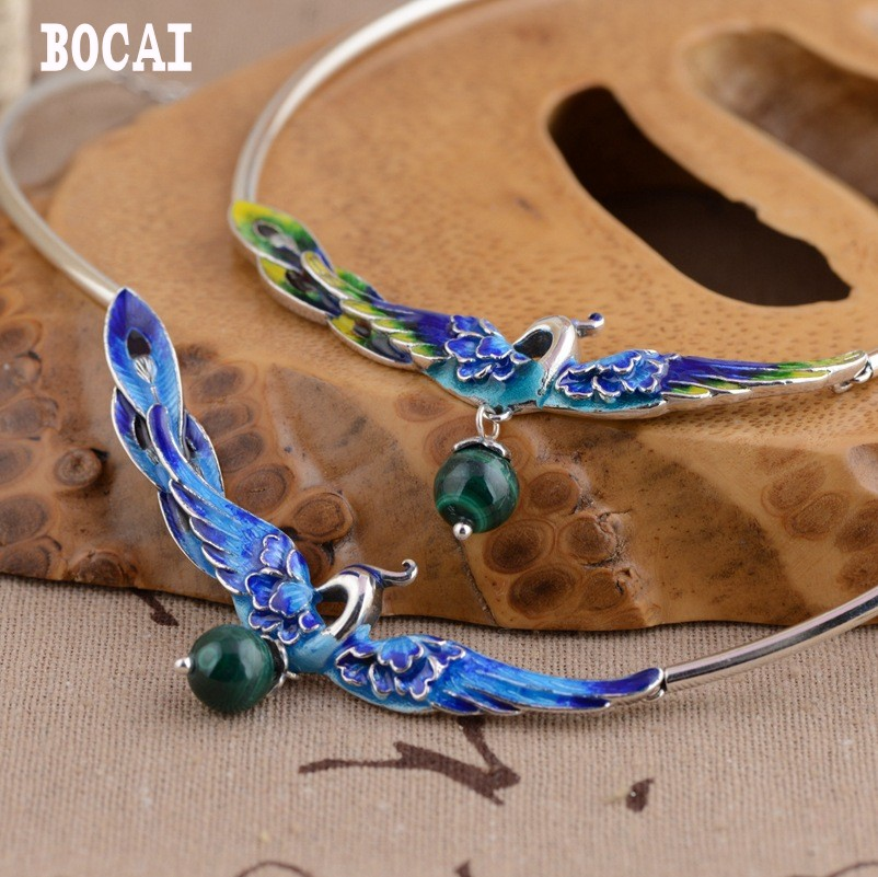 S925 sterling silver burning blue style female models phoenix wear peony malachite set chain handmade new s925 pure silver personality female models new beeswax