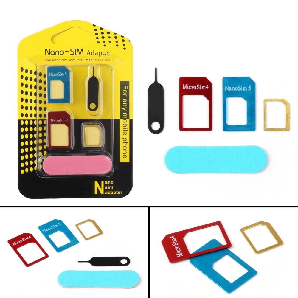 5 In 1 Nano Sim Card Adapters + Regular & Micro Sim + Standard SIM Card & Tools For IPhone 4 4s 5 5c 5s 6 6s Retail Box