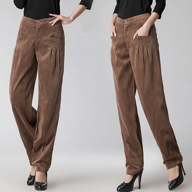 Nouveau femmes automne hiver pantalons en velours côtelé taille haute pantalons jambes larges pantalons en velours côtelé grands Yards D474