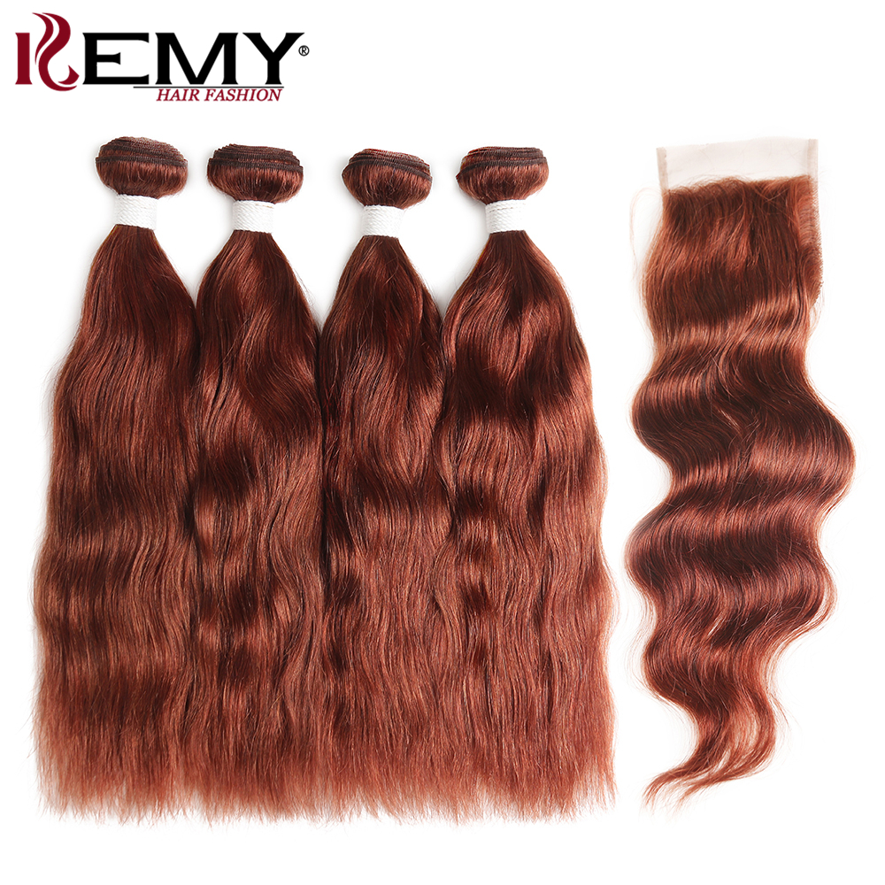 Brown Auburn Human Hair Bundles With Closure Brazilian Natural Wave Hair Extensions 3/4 Bundles With Closure Non-Remy KEMY HAIR