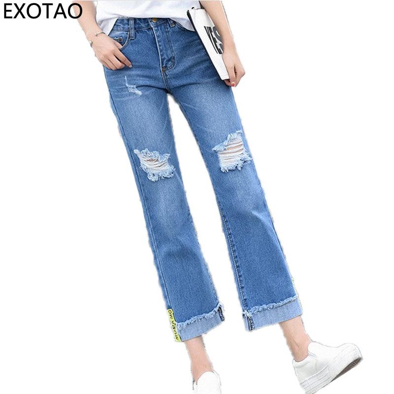EXOTAO High Waist Jeans Women Ripped Pantalon Mujer Wide Leg Denim Pants Femme Autumn Pockets Trousers Cuffs Jeans Pants Mujer exotao high wasit jeans women casual loose pockets spliced denim trousers feminina wide leg pants full length jeans female 2017