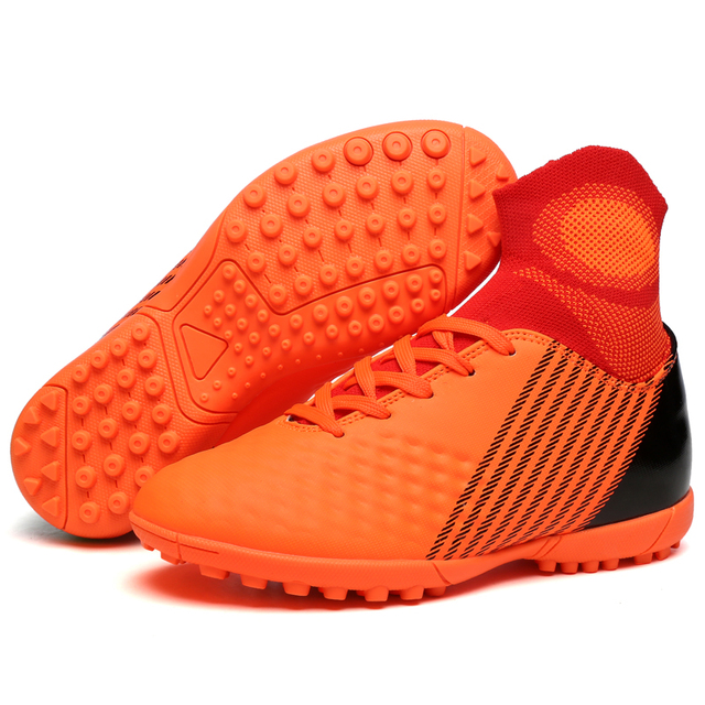 4674dc3a1b Sufei Futsal Sapatos de Futebol Botas de Futebol Crianças Juventude Quadra  Dura De Alta Tornozelo Meia