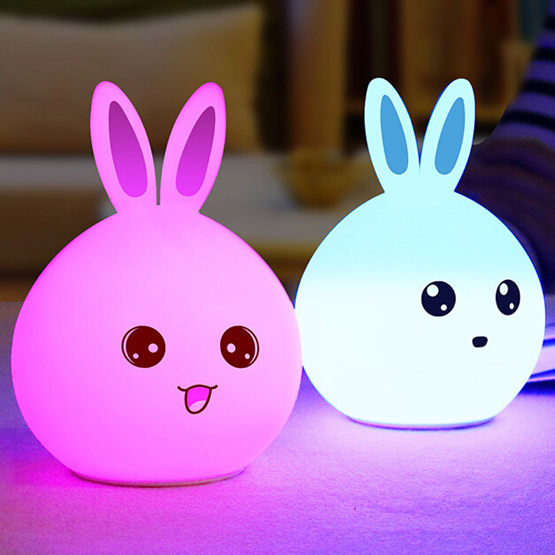 USB Rechargeable Rabbit Shape Bunny Light Cute Led Luminous Toys Children Bedside Table Decoration Night Silicone Night Lighting